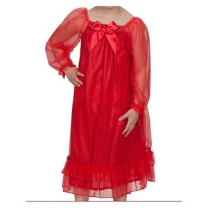 NWOT Laura Dare Red Chiffon Bowtastic Nightgown